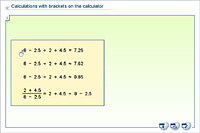 Calculations with brackets on the calculator