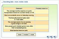 Describing data – mean, median, mode
